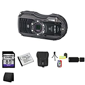 Pentax Optio WG-3 16MP Waterproof Digital Camera (Black) + 8GB SDHC Class 10 Memory + Extra LI-50B Battery + Carrying Case + Mini Tripod Kit + USB SDHC Reader + Memory Wallet