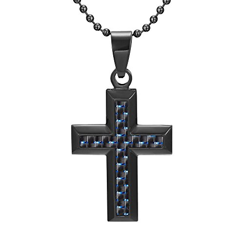 Cross Pendant Black Stainless Steel with Blue Carbon Fiber with Gift Pouch (Carbon Steel Pendant compare prices)