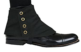 Mens Vintage Style Shoes| Retro Classic Shoes Canvas Premium Button Spats $31.95 AT vintagedancer.com