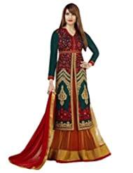 Stylelok Womens Georgette Green Free Size Anarkali Suit