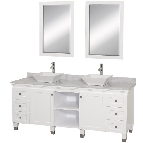 Premiere Double Bathroom Vanity In White With White Carrera Marble Top With White Porcelain Sinks