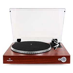Auna TT-931 Turntable Vinyl Record Player Retro Compact Design Removable Dust Cover (Belt Drive, S-Shaped Tone Arm, Lift and Auto-Start) Wood Finish