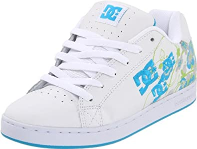 DC Women's Pixie Cherry Blossom Lace-Up Skate Shoe,White/Turquoise/Silver,11 M US