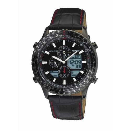 Accurist Men's Quartz Watch with Black Dial Chronograph Display and Black Leather Strap MS1036BB