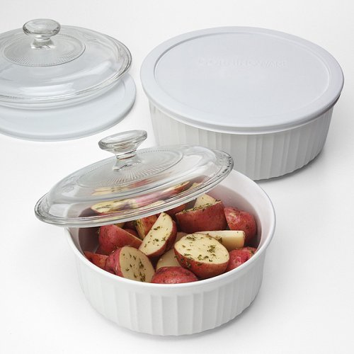 Corningware French White 6 White Includes: 1.5 Qt and 2.5 Qt Round casserole w/covers