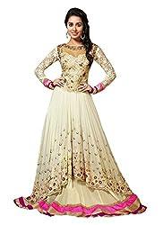Zbuy Beige Georgette Embroidered Unstitched Salwar Suit Dress Material