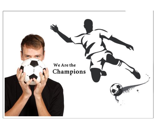 Olivia Diy We Are The Champions - World Cup Inspirational Quotes Soccer Sports Player Playing Soccer Silhouette Wall Decals Black Vinyl Removable Cool Boys Wall Stickers Art Decor