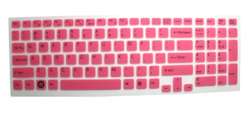 Silicone Laptop Keyboard Protector Skin Cover For Sony Vaio Pcg-61511T, E15, S15, F219, F24, Eb, Ee, Eh, El, Cb, Se, Series 15.5 Inch With Number Pad On The Right Us Layout (Pink Semitransparent)