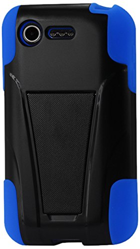 Reiko Silicon Hard Hybrid Kickstand Case For Lg Optimus Fuel L34C/Lg Optimus Zone 2 Us Carrier Verizon, Straight Talk - Retail Packaging - Navy Black