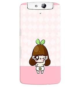 PRINTVISA Cute Cartoon Girl Case Cover for Oppo N1