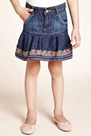 Autograph Cotton Rich Embroidered Skirt [T77-6791T-S]