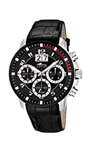 01052b3a34ee Lotus Mens Quartz Watch Black Dial Chronograph Display and Black ...