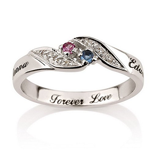 Personalized Engraved Promise Ring Engagement Promise Ring 925 Sterling Silver, Couples Ring with Birthstones (6.5)