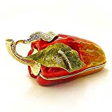 "Pewter Swarovski Crystal Enameled ""Chili Pepper"" Keepsake Box"