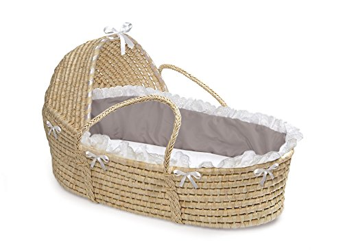 Best Review Of Natural Hooded Moses Basket - Gray/White Bedding
