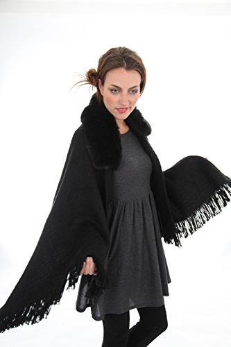 Rochelle mantella invernale da donna in maglia con interno in pelliccia sintetica nero Taglia unica