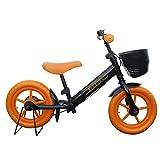キッズバイク ペダルなし自転車 子ども用自転車 子供用自転車 ブレーキ付き ランニングバイク キックバイク   Airbike 「公園の天使」 (ブラック×オレンジ)