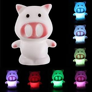 Lovely Pig Shape 7 Color Change LED Lamp Nightlight Night Light Decoration Kids by Nollmit Co,LTD