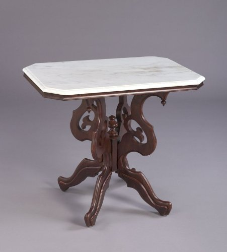 Rectangular White Marble Top Accent Table