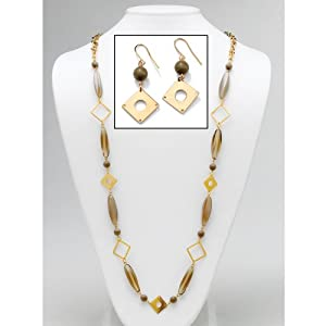 """PalmBeach Jewelry 2 Piece Beaded and Chain and Earrings Set in Yellow Gold Tone 40"""""""