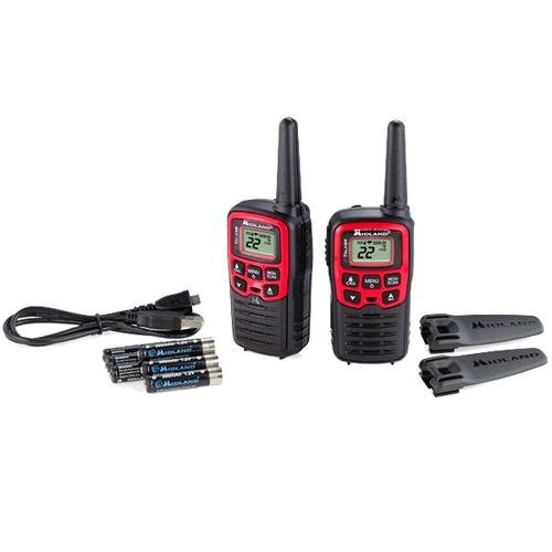 Midland 22 Channel/26 Mile Two Way Radio with 38 CTCSS, W/X Alert, Battery & USB Cable Charger (Good Wire compare prices)