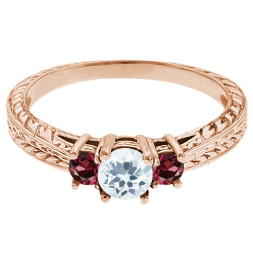 0.57 Ct Round Sky Blue Topaz Red Rhodolite Garnet 14K Rose Gold 3-Stone Ring