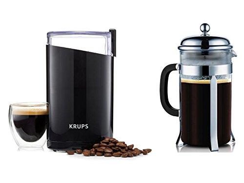 Krups Electric Coffee Grinder + 8 Cup Espresso Heat Resistant Plunger Gift Set