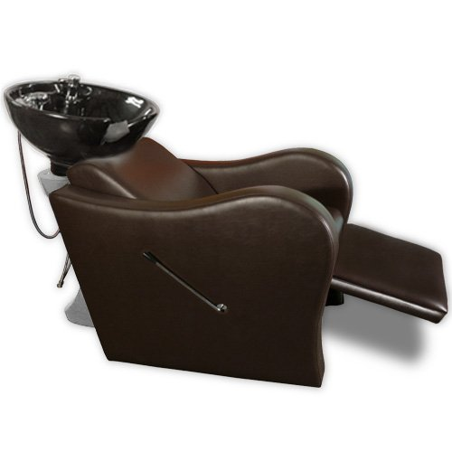 Wave Shampoo Unit in Chocolate Brown with White Bowl