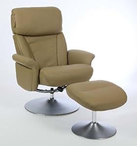 Fauteuil relax cuir taupe avec pouf plenitude cuisine maison - Amazon fauteuil relax ...