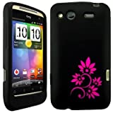Wayzon HTC Salsa Case Cover Skin Pouch Black Silica Rubber With Marguerite Flower Pattern On Back