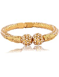 Adwitiya 24k Gold Plated Rich Pearl Studded Traditional Bracelet For Womens And Girls