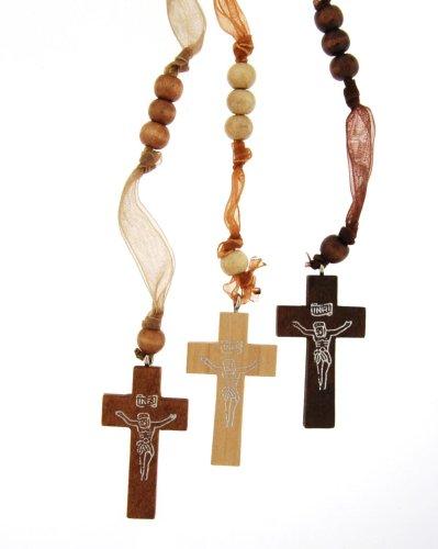 Set of 3 Light, Medium and Dark Colored Wood and Silk Rosary