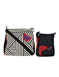 Combo Of B&W Stripe Crossbody Sling With Black Small Sling Bag