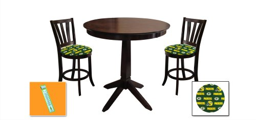 New Cappuccino / Espresso Finish Wood 3 Piece Bar Table Set includes 2 Bar Stools with Green Bay Packers Theme! Also includes a free large indoor / outdoor thermometer! at Amazon.com
