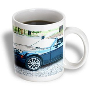 Jos Fauxtographee Realistic - A Blue Convertible Car In The Dixie National Forest Campground - 15Oz Mug (Mug_64445_2)