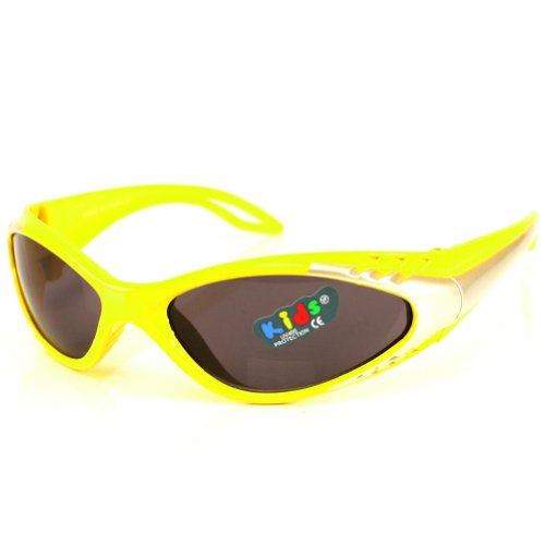 Kids Child 3-7 Sporty Sunglasses Sun UV400 Boys Yellow with Smoke Lens