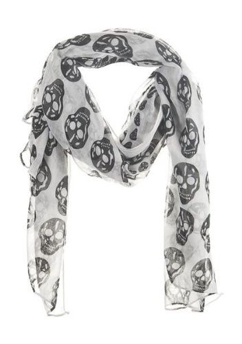 Ganz Halloween Skull Scarf - Large Black and White Neck Scarf