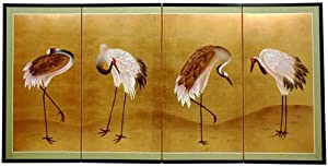 Oriental Furniture Classic Asian Japanese Chinese Art, 36 by 72-Inch Cranes Gold Leaf Oriental Wall Screen Painting