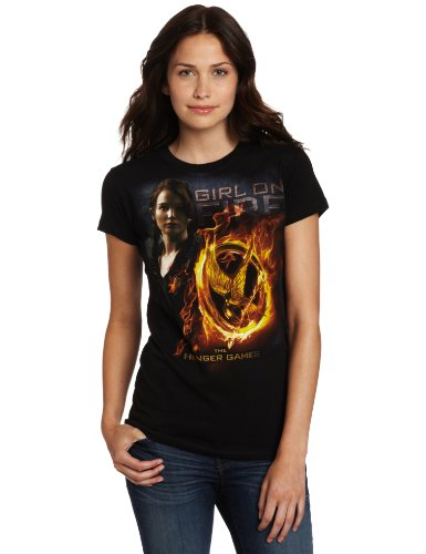 FEA Juniors Hunger Games Movie Girl On Fire Mockingjay Tissue Tee, Black, Large