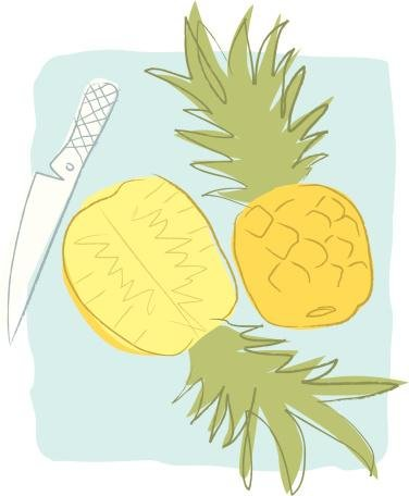 A Knife Cutting Open A Pineapple Wall Decal - 24 Inches H X 20 Inches W - Peel And Stick Removable Graphic