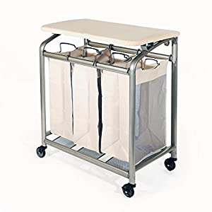 ... Classics 3-Bag Laundry Sorter with Folding Table: Home & Kitchen