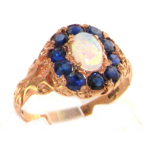 Luxury 9K Rose Gold Womens Fiery Opal & Sapphire Vintage Style Cluster Ring - Size 12 - Finger Sizes 5 to 12 Available - Suitable as an Anniversary ring, Engagement ring, Eternity ring, or Promise ring