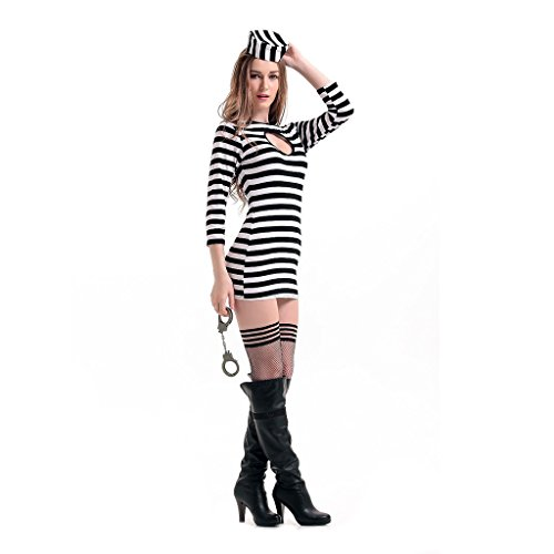 Wotefusi Halloween Party Prisoner Cosplay Sexy Womens Mini Stripe Dress Fancy Costume