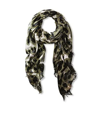 Theodora & Callum Women's Snow Leopard Scarf, Black Multi