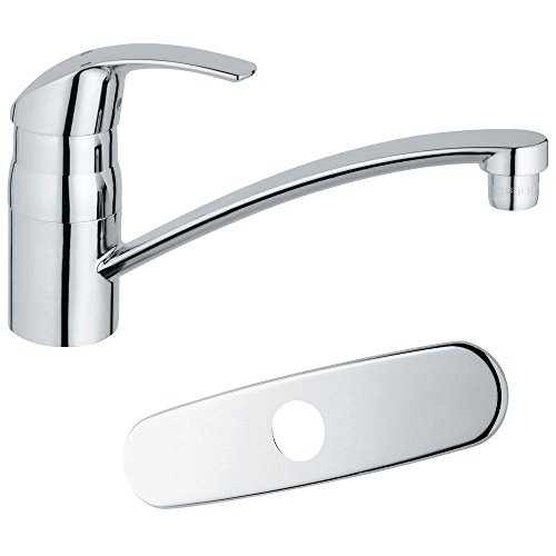 Grohe 3113310E Eurosmart Single-Handle Bar Faucet in Starlight Chrome with1.5gpm Water Care contemporary chrome finish single handle bathroom sink faucet silver