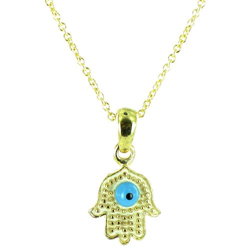 White And Blue On Gold Plated Small Hamsa Hand Necklace front-1062699