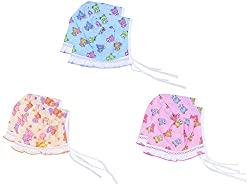 Dream Baby Cotton Square Frill Cap - Set of 6 (Multi-Coloured, 3-6 months)