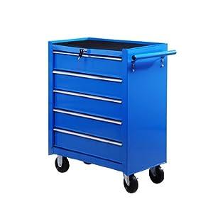 Fahrbarer Werkstattwagen Werkzeugwagen Rollwagen Werkzeugkasten mit 5 Schubladen blau  BaumarktKundenbewertung und Beschreibung
