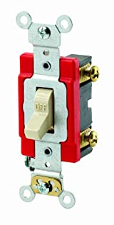 20 Amp, Toggle Single-Pole AC Quiet Switch, 120/277 Volt, Extra Heavy Duty Spec Grade, Self Grounding, Brown/Black/Gray/Ivory/Chrome/Red/Light Almond/White, 1221-2