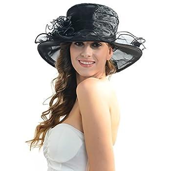 Women Kentucky Derby Church Dress Organza Hat Wide Brim Flat Hat (8 Colours)